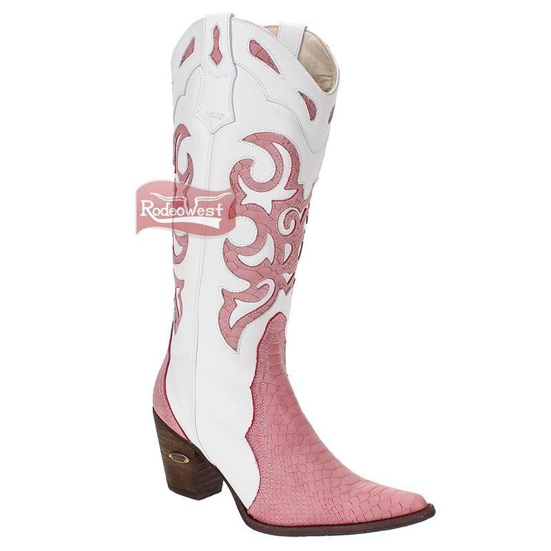 b207e95494 Bota Texana Feminina Cobra Anaconda Pink Bico Fino - Agabê: Mulheres ...