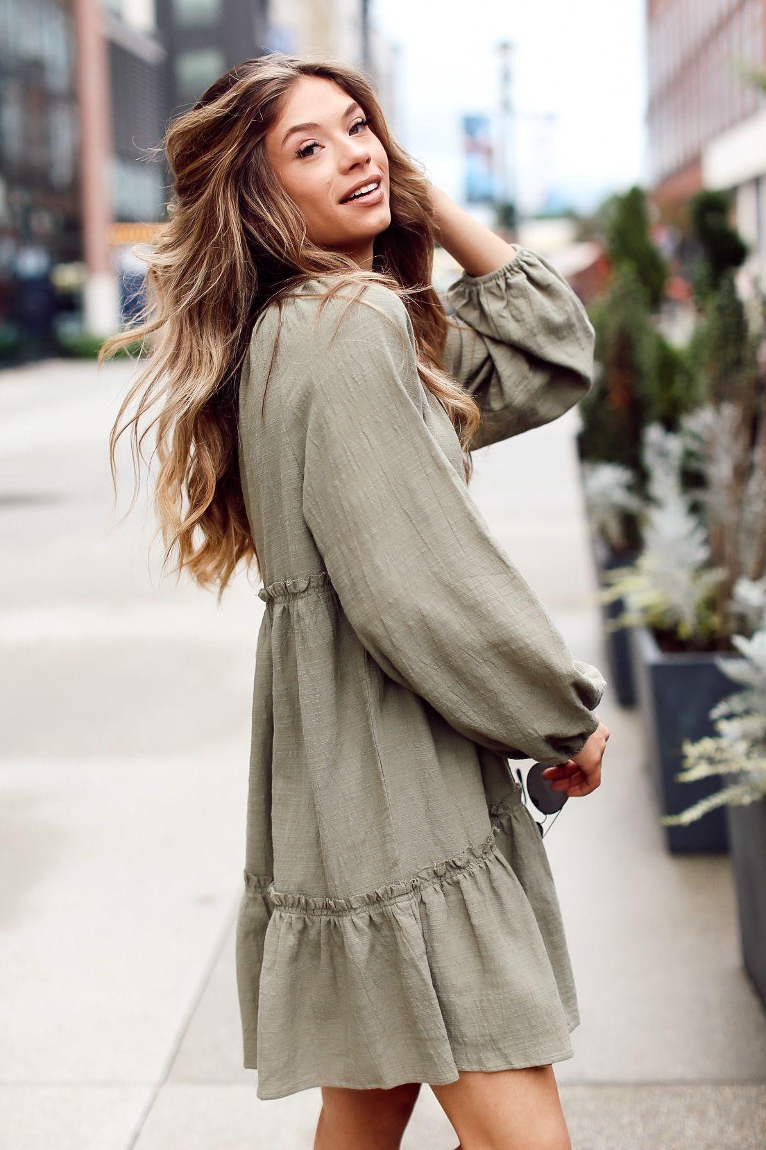 Julie Tiered Babydoll Dress Cute Long Sleeve Dresses Fall Dress Outfit Casual Dress Outfits [ 1656 x 1104 Pixel ]