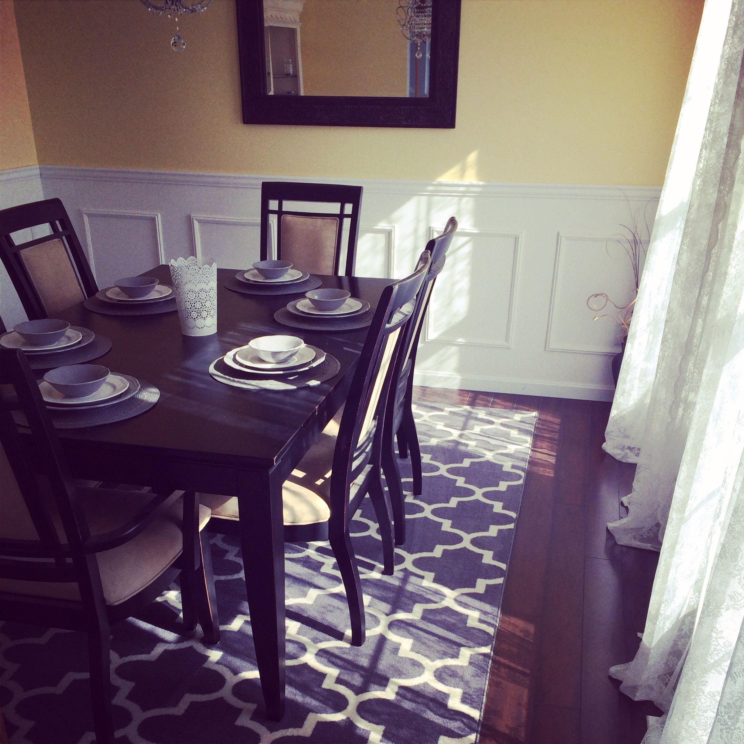 Finished our dining room. Love this area rug from Target ...