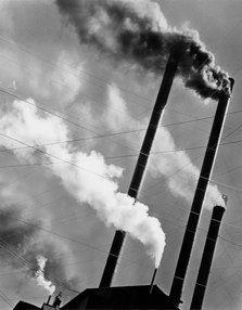 Berenice Abbott | Smoke Stacks, Red River Logging Co., California, 1943
