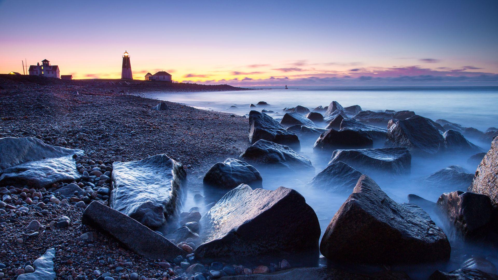 Beautiful Lighthouse Above A Mist Rocky Shore Hd Desktop Background Wallpaper Free