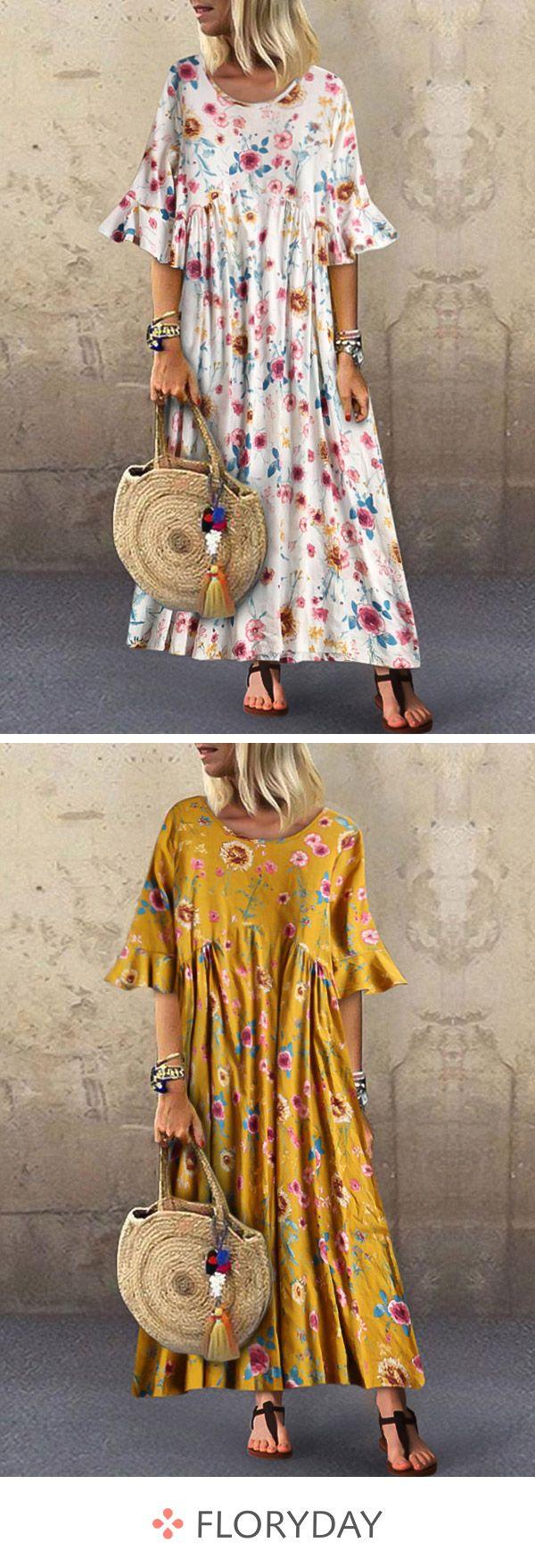 Kleid in A-Linie mit mit Blumenmuster und Rundhalsausschnitt