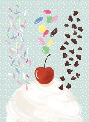 You're A Treat - ice cream digital illustration - sprinkles, smarties, chocolate chips!