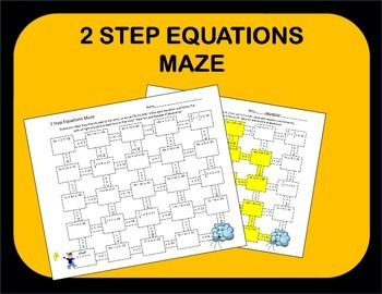 Two Step Equations Maze Activity   Math Grades 7-12   Two step ...
