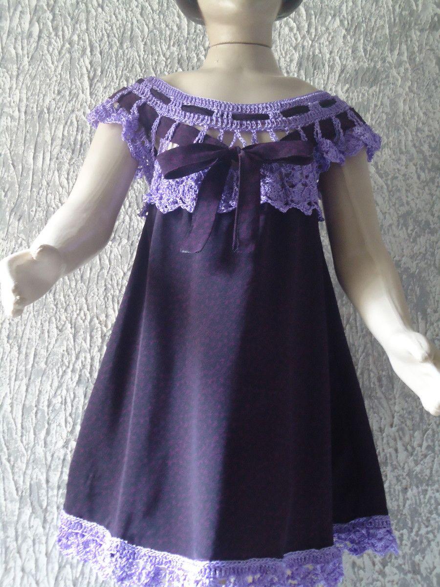 bea9ec0c6 vestido infantil de tecido com pala em crochê tecido de boa qualidade sobre  encomenda cores opcional, tamanho de 1 a 1o anos , prazo de produção 20  dias ...