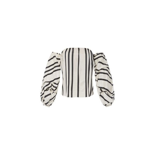 Johanna Ortiz (14.015 ARS) ❤ liked on Polyvore featuring tops, off shoulder tops, ruched top, puff sleeve top, striped top and white ruched top