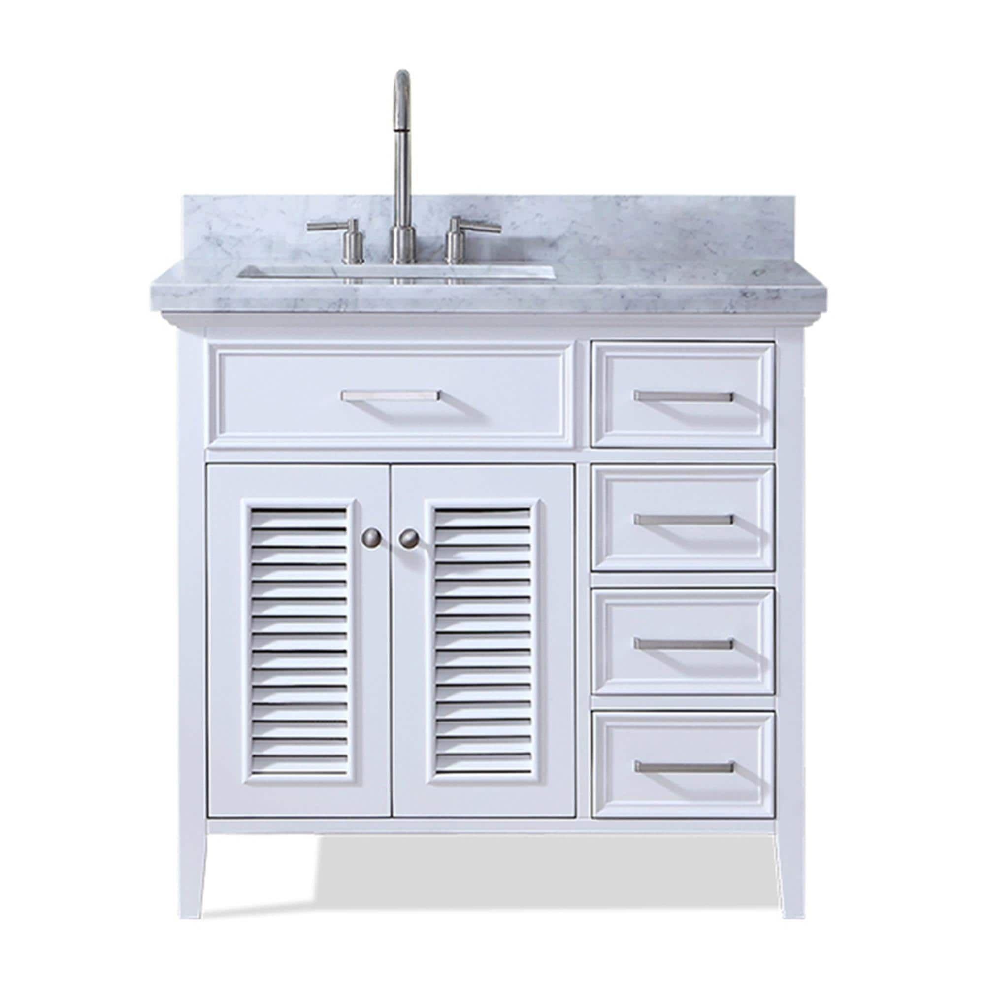 Ariel Kensington 37 In Left Offset Single Sink Vanity In White Gray Single Sink Bathroom Vanity Bathroom Sink Vanity Single Sink Vanity