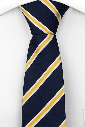 Necktie from Tieroom, Notch ANDOR has got a dark navy base & smashing stripes in yellow & white Notch