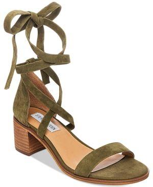 f44bbadbdbc Steve Madden Women s Rizza Lace-Up Block-Heel Sandals - Green 8.5M ...
