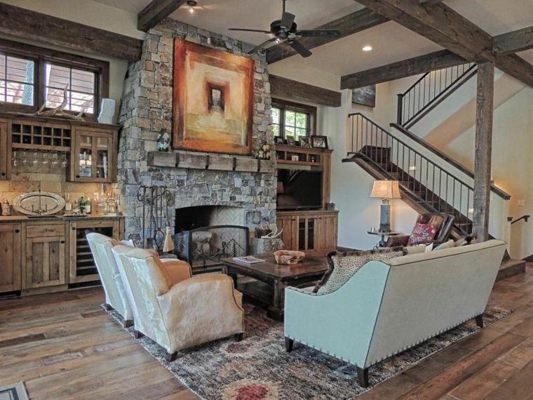 camino-rustico-cucina-legno-travi-illuminazione-moderna-tappeto ...