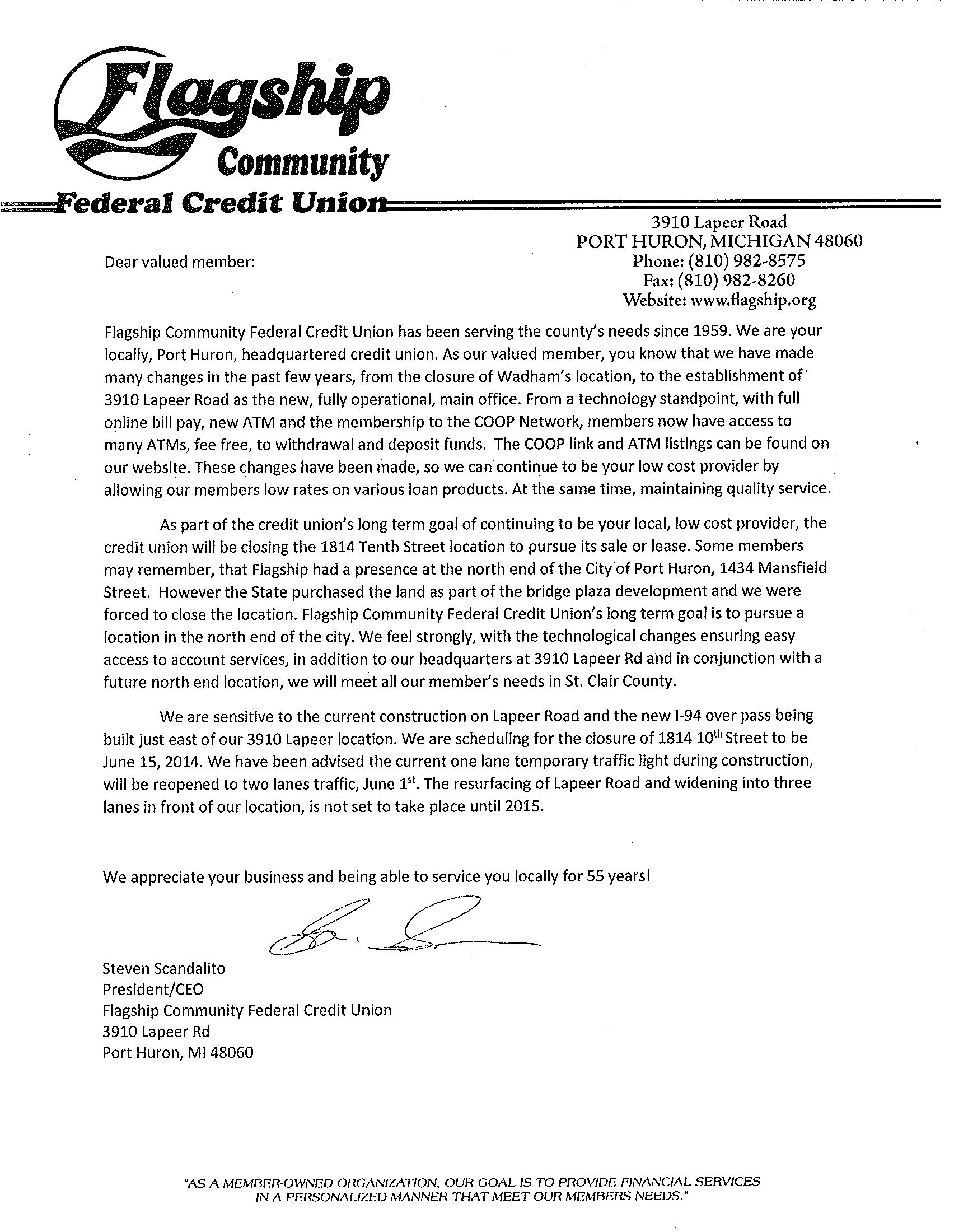 Flagship Federal Credit Union Tenth Street Closing Letterclosing A