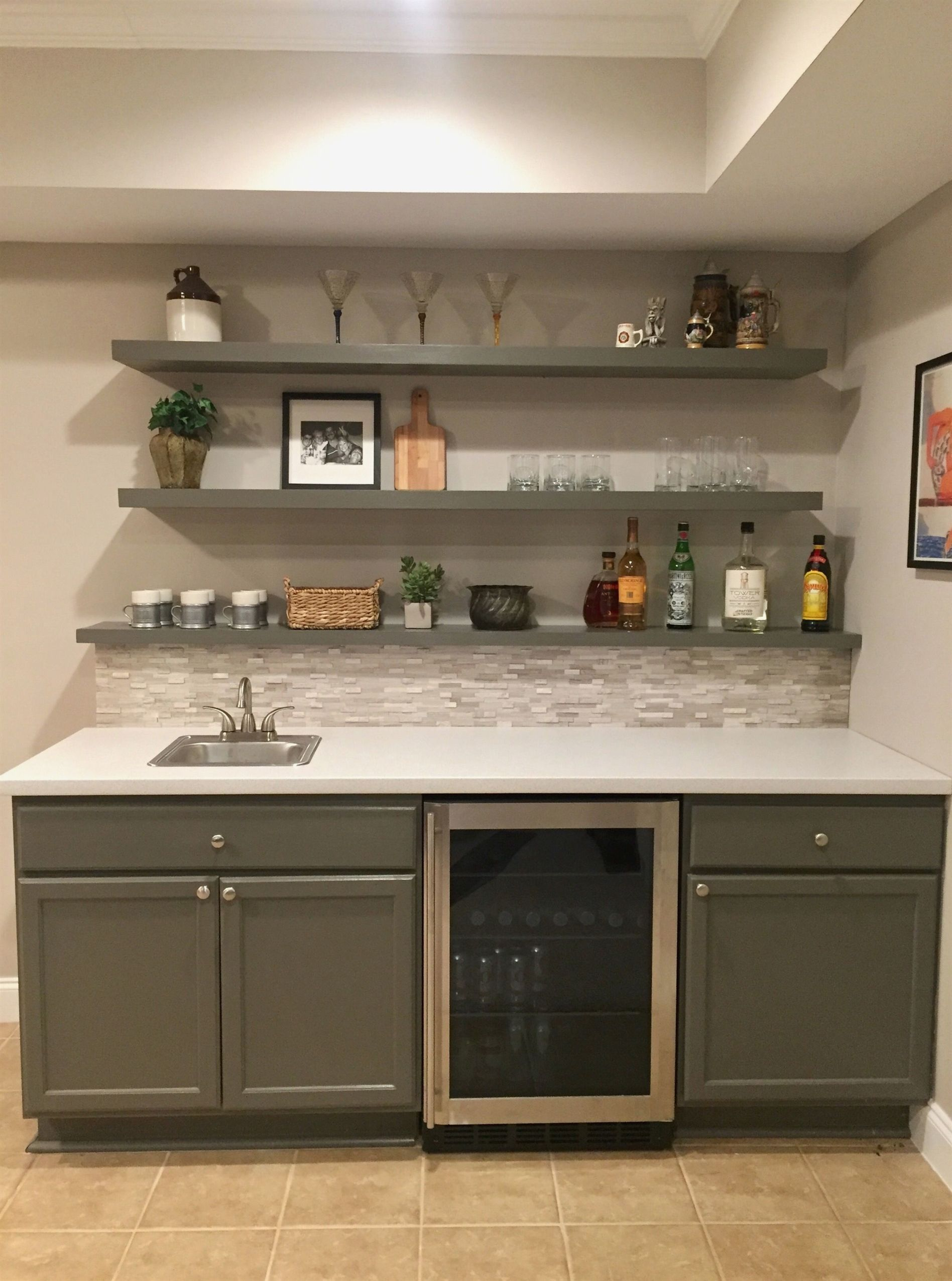Basement Bar Almost Done Backsplash Tile And Cabinets From Hd Shelves From Ikea Paint Sw Porpoise Basement Kitchenette Basement Decor Basement Bar Designs