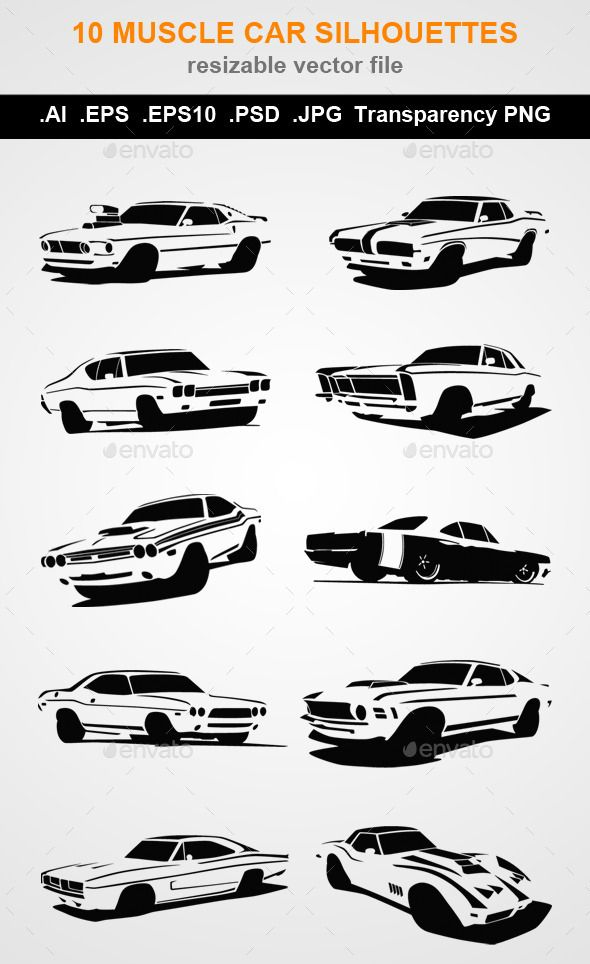 10 Muscle Car Silhouettes Man Made Objects Objects Greg Car