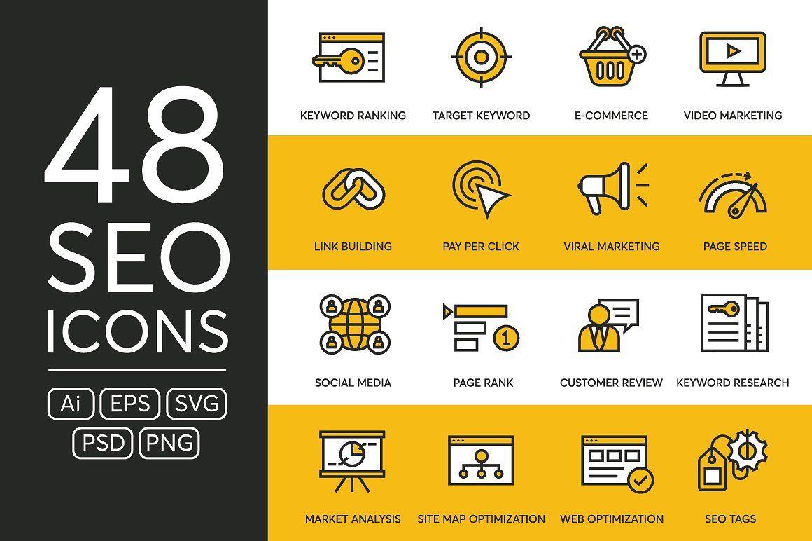 48 Seo Icons Web Design Icon Icon Viral Marketing