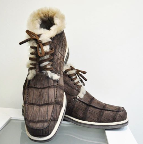 casual alligator leather chukka sneaker boot for men in