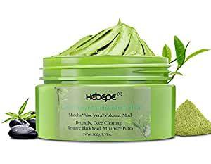 Photo of Hebepe Matcha Green Tea Detox Facial Mud Mask with Aloe Vera, Deep Cleaning, Hydrating