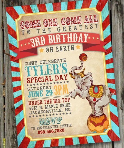 Vintage Circus Birthday Invitation PRINTABLE Carnival ID
