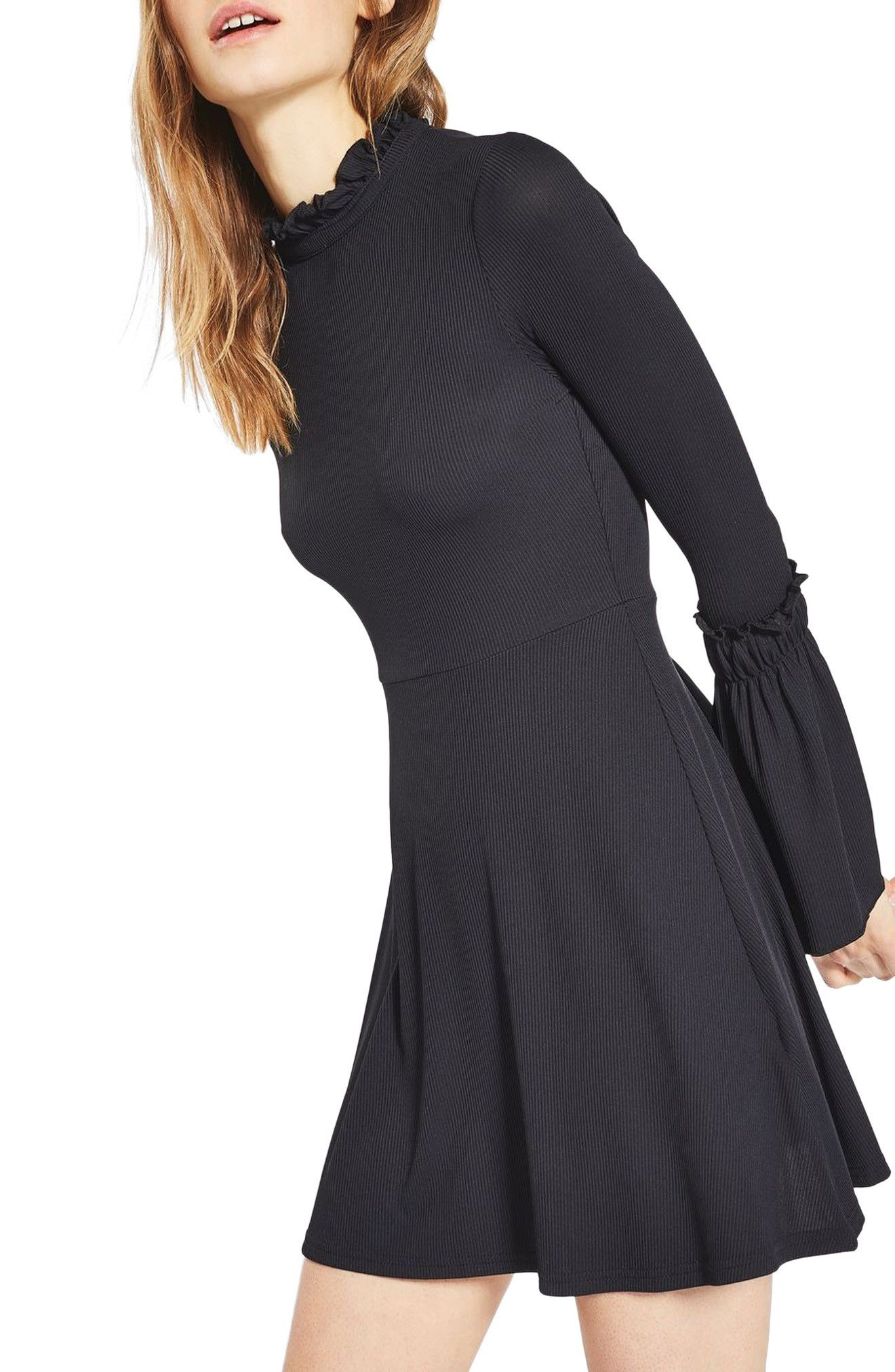 Long sleeve black leather skater dress