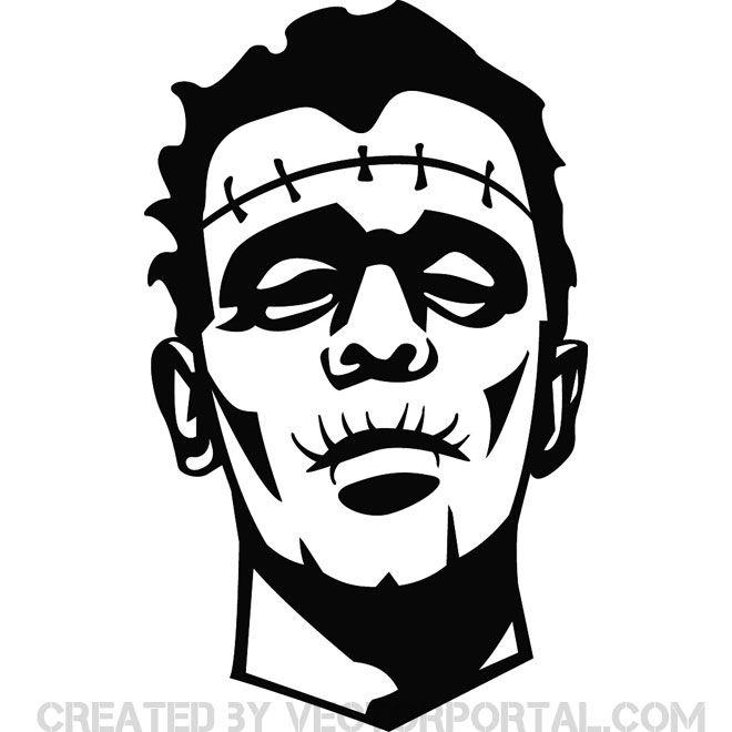 Frankenstein Face Free Vector Monster Drawing Frankenstein Illustration Drawings