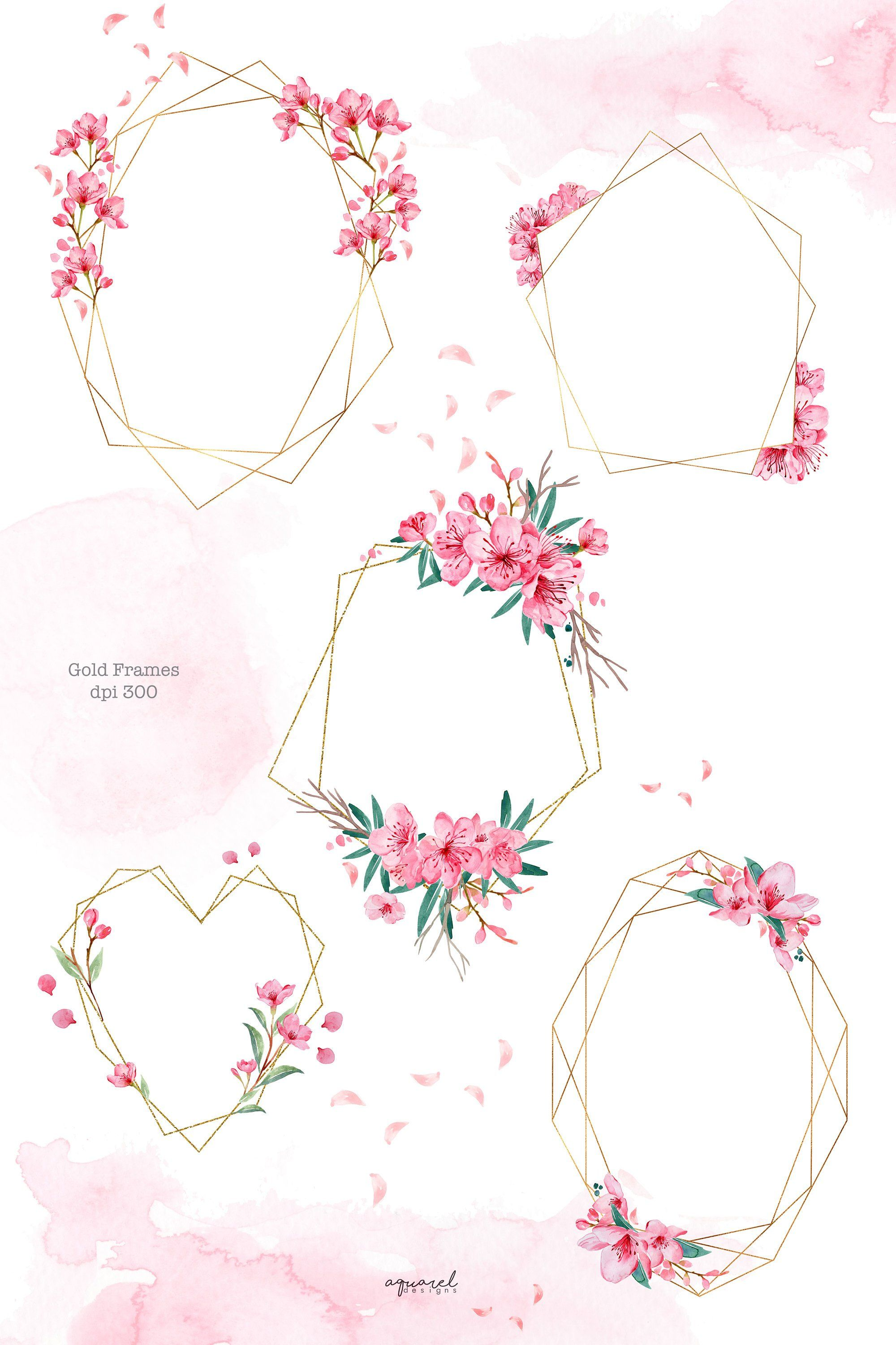 Cherry Blossom Watercolor Hand Painted Clipart Sakura Pink