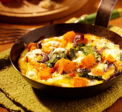 Roasted butternut squash frittata with feta & spinach recipe by Clover. A frittata made with butternut squash and feta cheese.. Serves 1. Find more great Main Courses recipes at Kitchen Goddess.