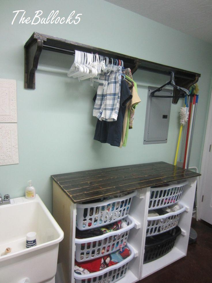 Laundry Room Clothes Hanging Rod Astonishing 34 Shelf Distinctive