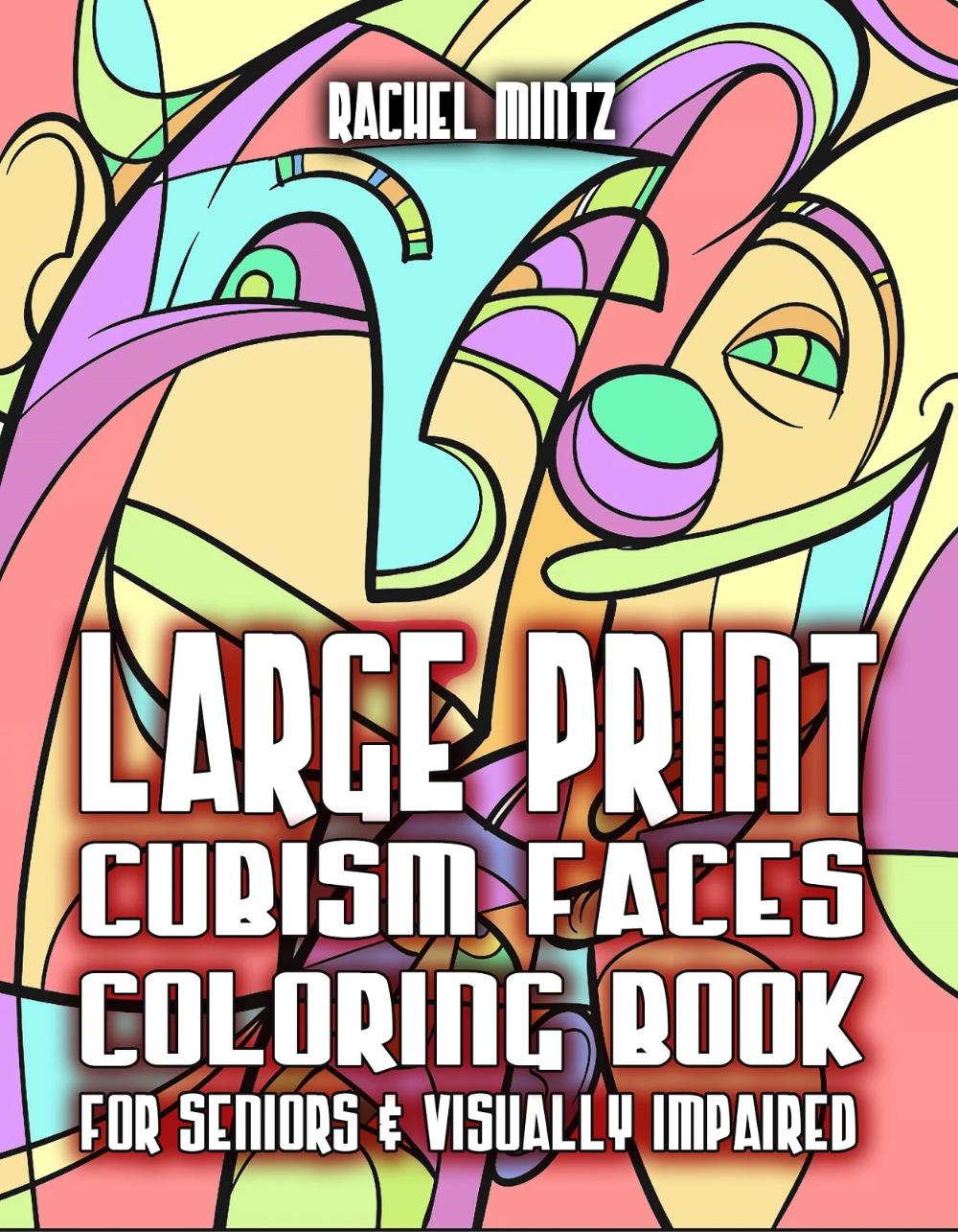 Large Print Cubism Faces Color Picasso Style Pages For Seniors Vis Rachel Mintz Coloring Books Picasso Style Large Prints Coloring Books