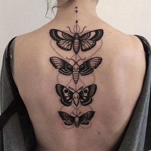 Tatouage colonne vertebrale papillon dotwork geometrique tatouages pinterest colonne - Tatouage colonne vertebrale ...