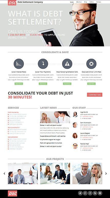 Debt Settlement Company Website Template Themes Business
