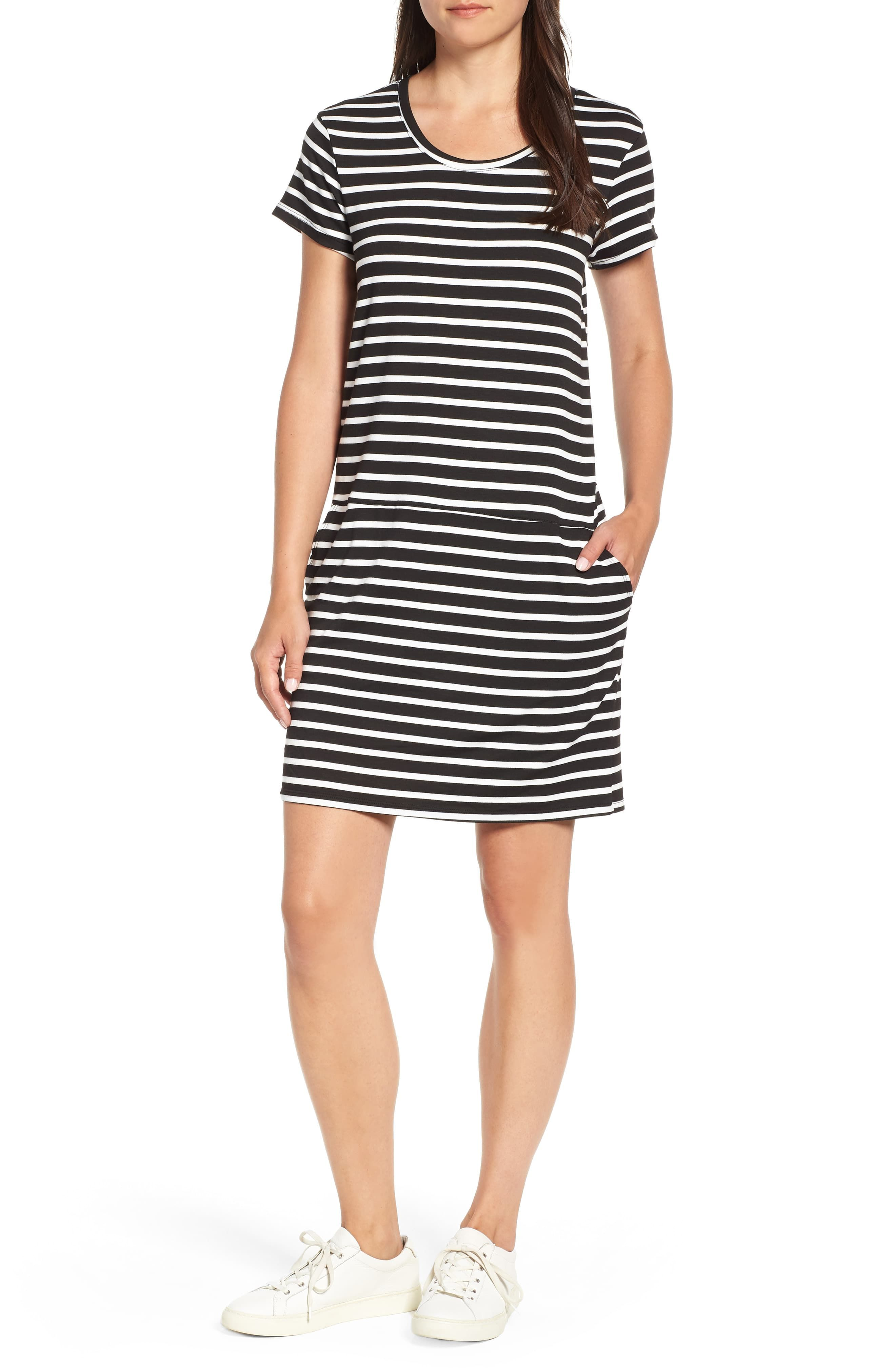 Caslon® Knit Shift Dress (Regular & Petite | Striped t shirt