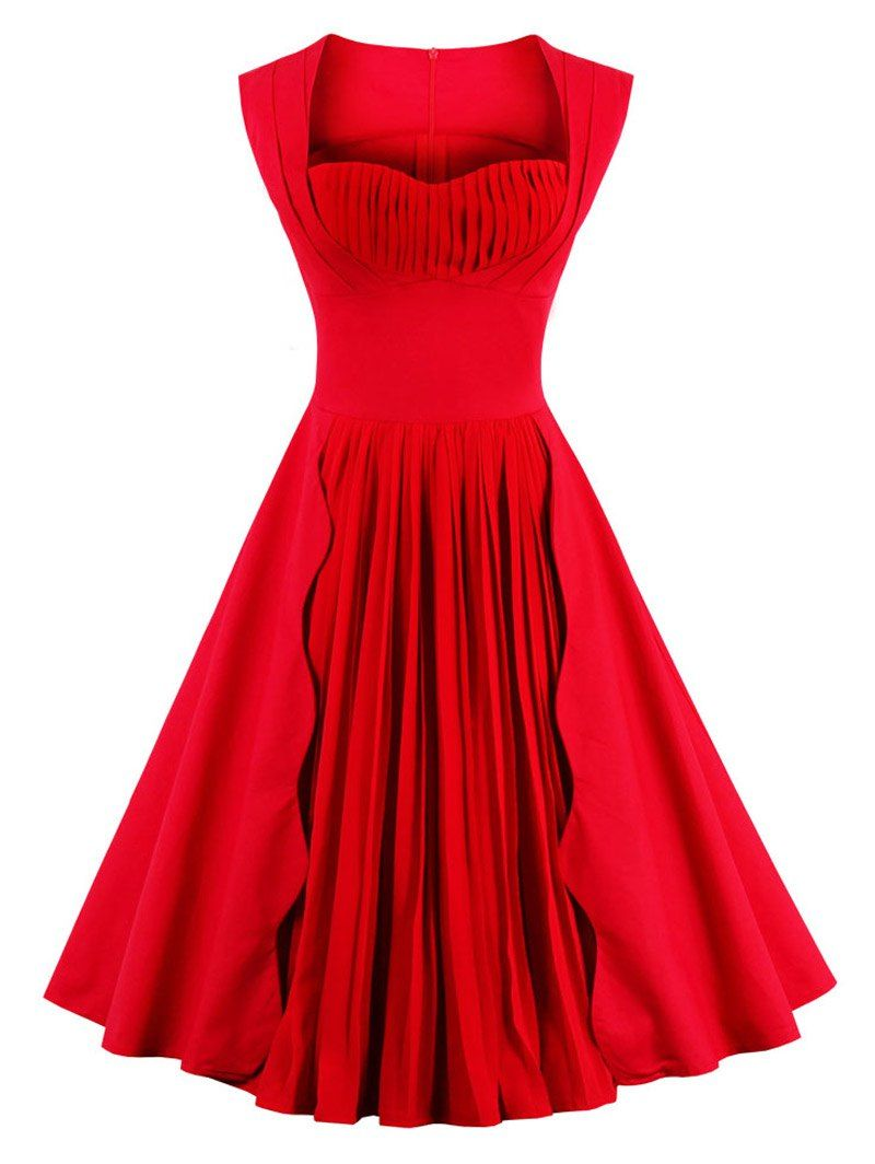 Sweetheart Neck Pleated Pin Up Dress Market Price Customer