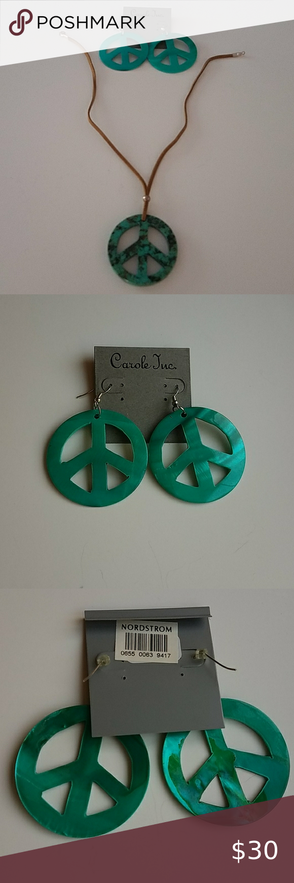 Download Bundle of green boho peace sign necklace, earrings in 2020 ...