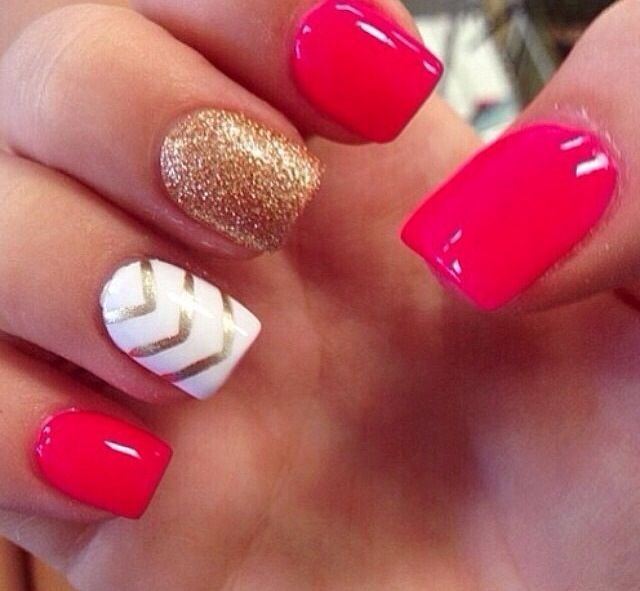 Cherry Red Chevron Nails Nails Manicure