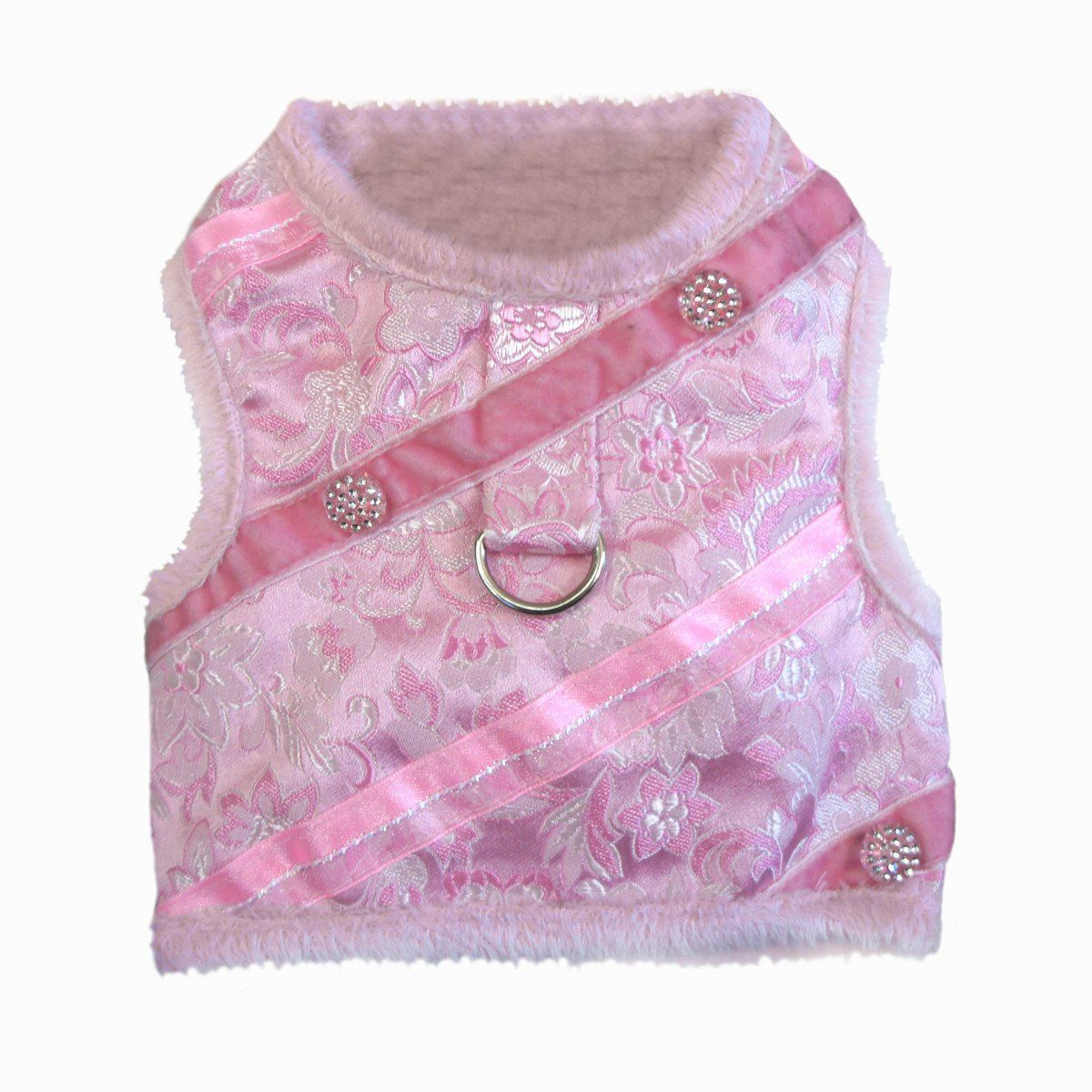 Doggie Design Pink Silver Brocade Jeweled Plush Faux Minky