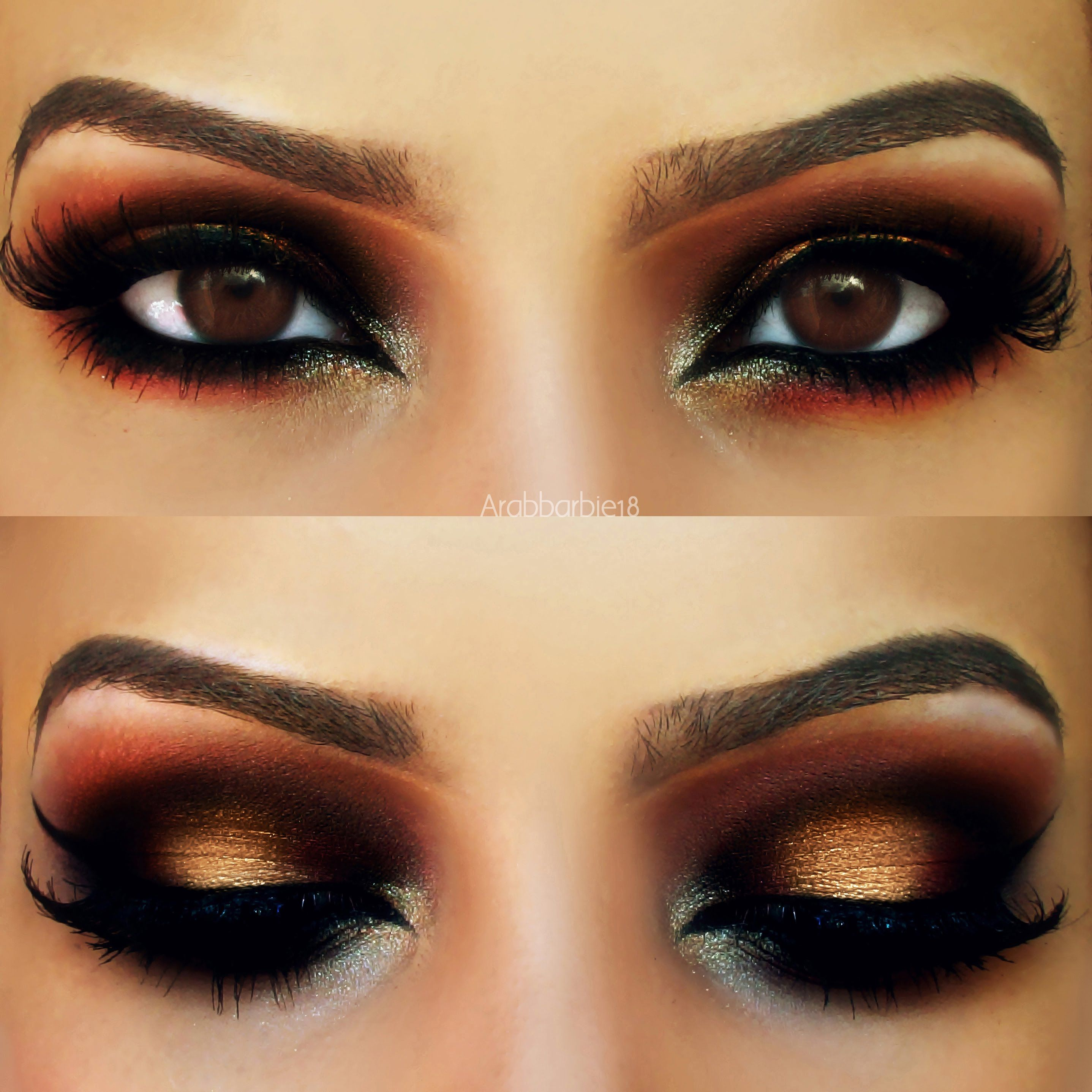 Gold And Red Arabic Makeup Look By فاطمة ه Arabic Eye Makeup Makeup Makeup For Brown Eyes
