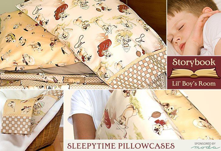 Moda Fabrics' Lil' Rascals Storybook Bedroom: Sleepytime Pillowcases