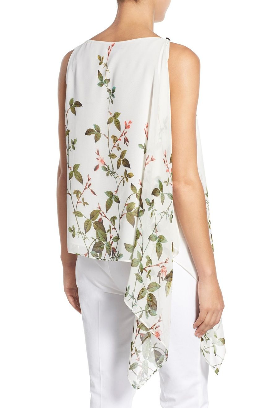 68ffbc4dfe Main Image - Adrianna Papell Floral Print Asymmetrical Chiffon Blouse