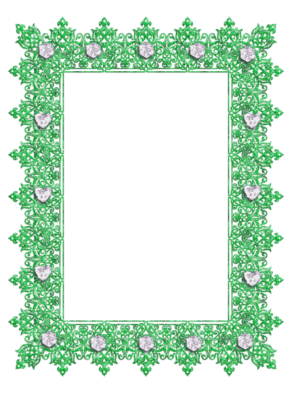 Green Transparent Frame with Diamonds Bingkai, Alas