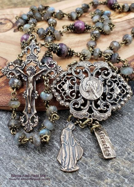 One of the Kind Blessed Virgin Mary Lord of Miracles Bronze Heirloom Labradorite Tourmaline Ornate Rosary Faith,Joy,Happiness,Abundance #rosaryjewelry