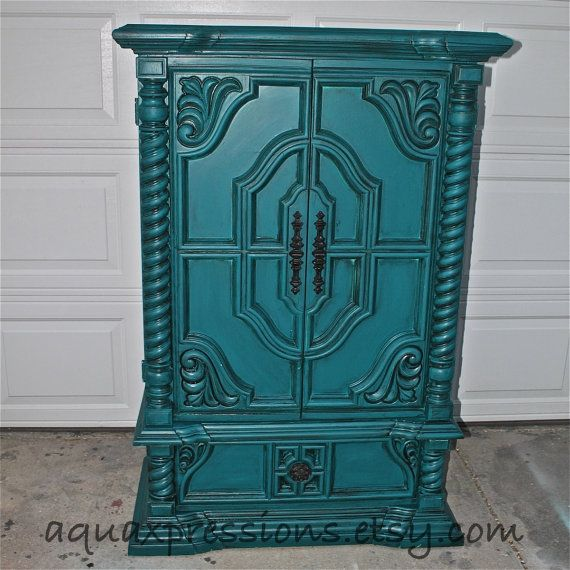 Vintage Armoire /Gypsy Teal / Bedroom Furniture/ Distressed /Black