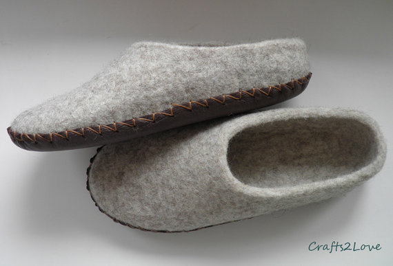 Wool Slippers With Leather Soles Felt Slippers Women Slippers Warm