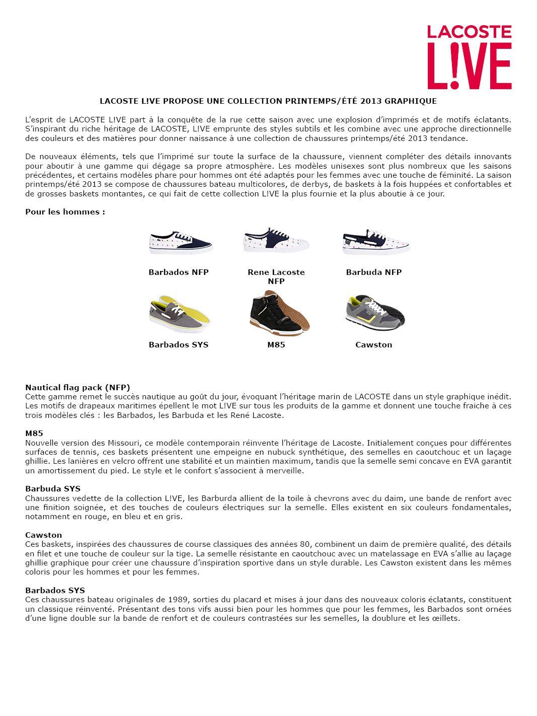 59933f9473 Communiqué de presse La Chaussure Lacoste L!VE, collection hommes Printemps  Été 2013