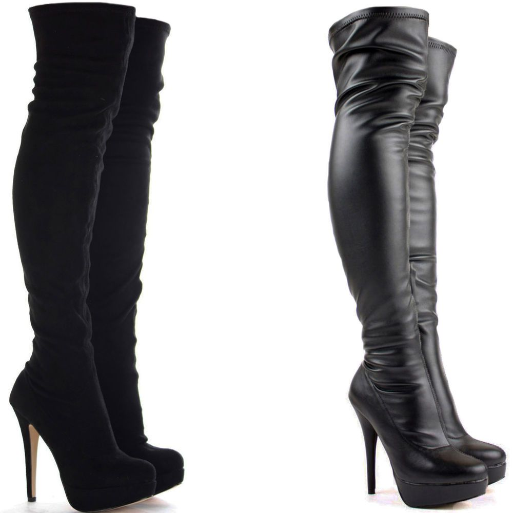 Womens ladies black over the knee thigh high stiletto heel ...