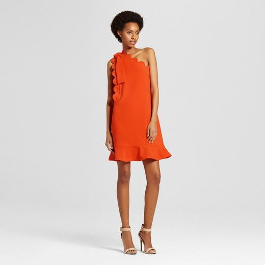 61070fafb2aa Women s Orange One Shoulder Dress with Bow and Scallop Trim - Victoria  Beckham for Target   Target
