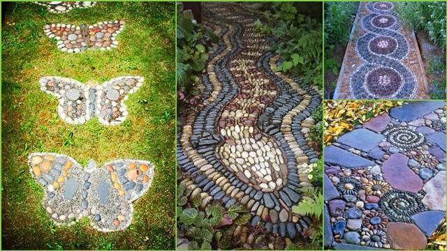 gartenweg gestaltung mosaik kies steine muster schlange,