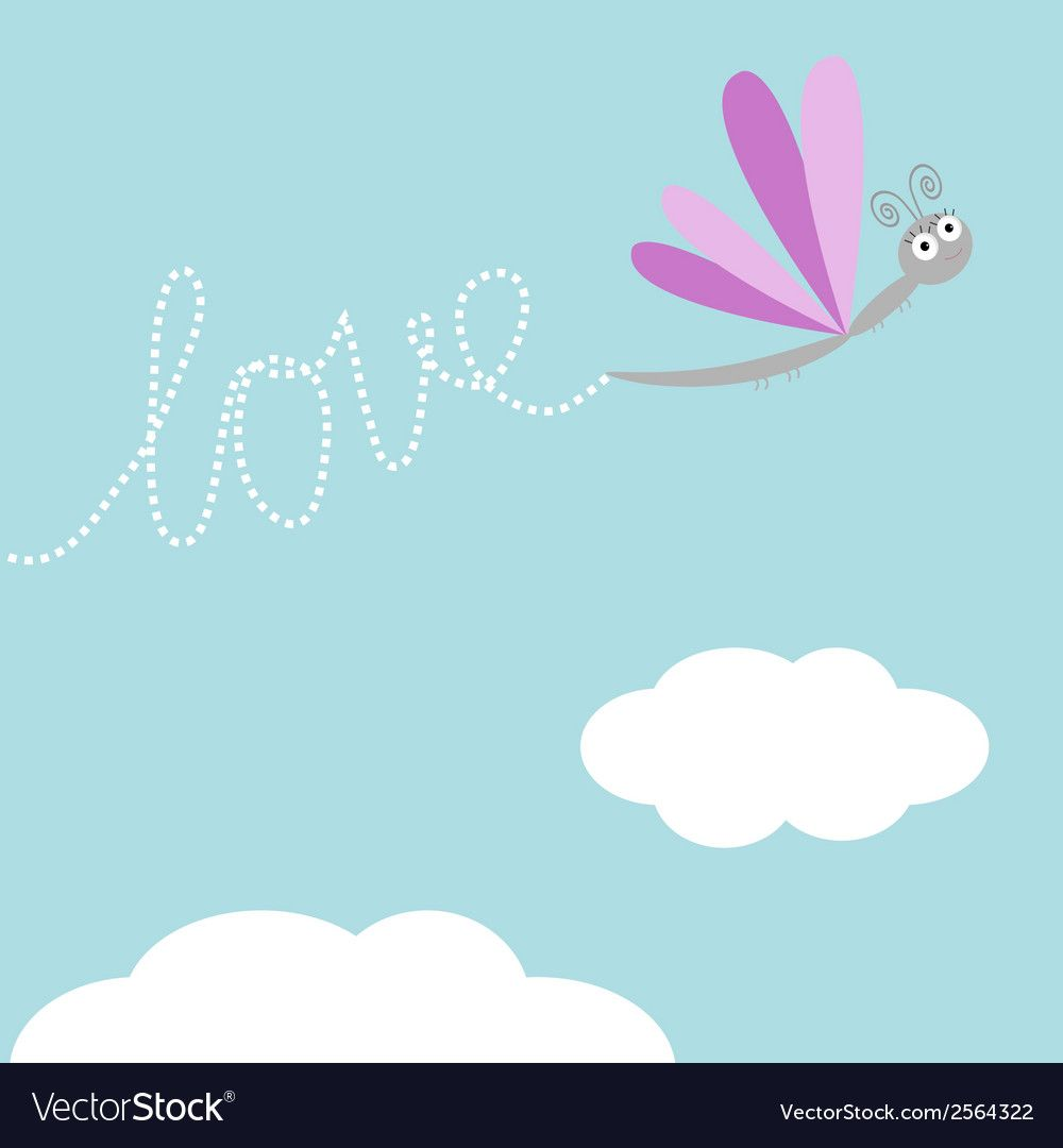 Download Flying dragonfly insect Dash word Love in the sky Vector ...