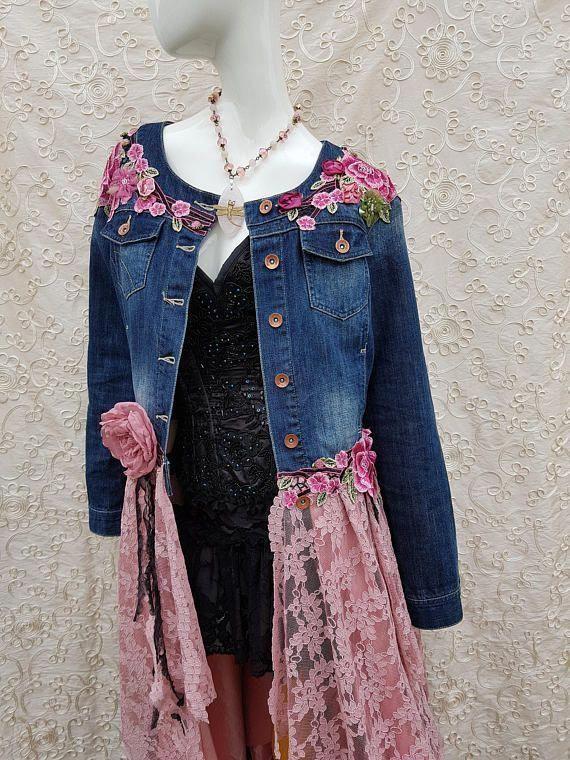Lace Applique Denim Jacket DENIM | Denim and lace, Upcycle