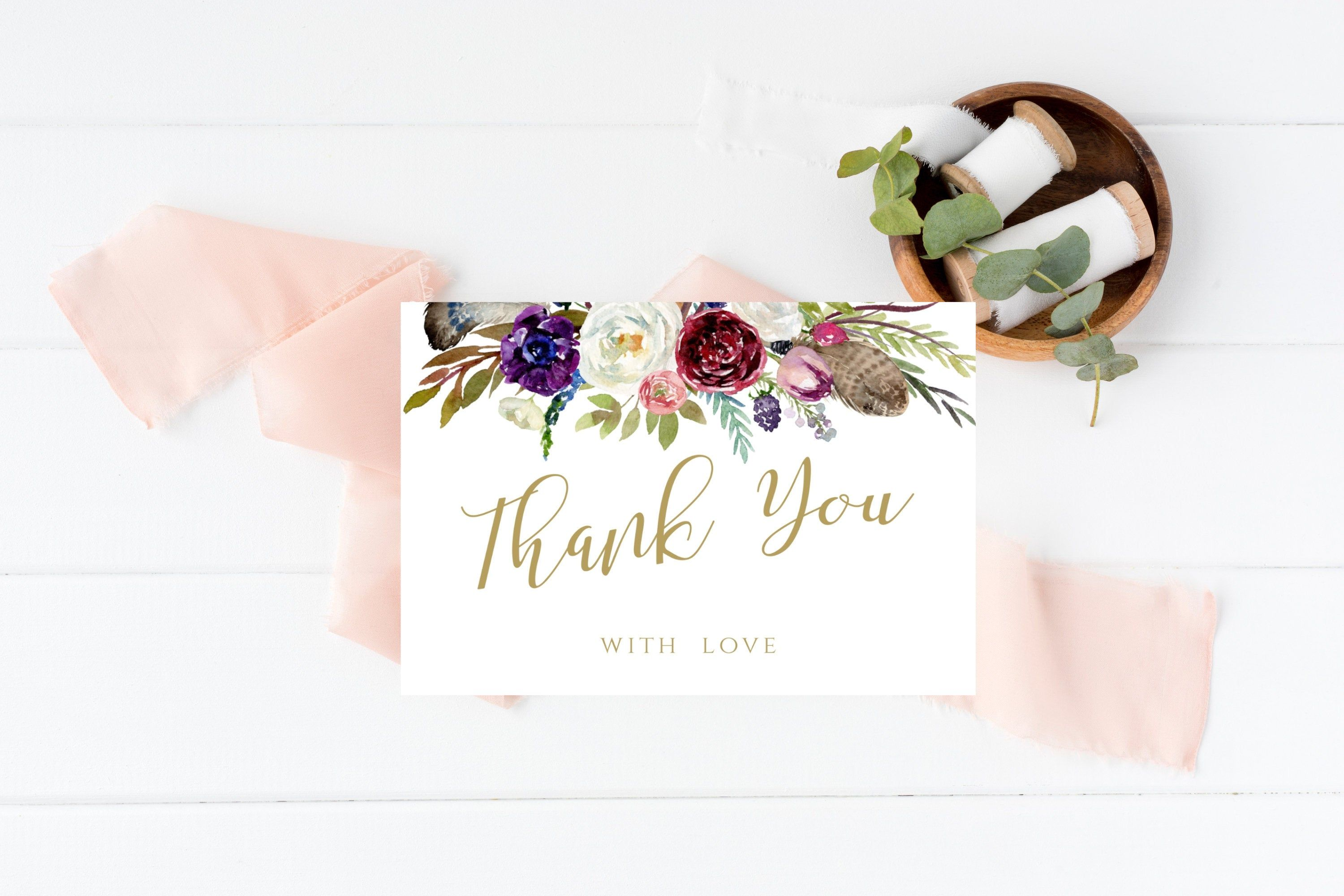 Floral Gold Thank You Card Template Printable Folded Thank You Card Editable Diy Insert Card Corjl Folded thank you card template