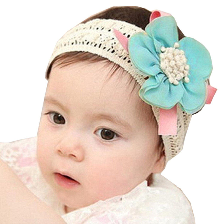 Fullkang Infant Baby Lace Flower Hair Band Headband Elastic Hair ... df053b19f19a