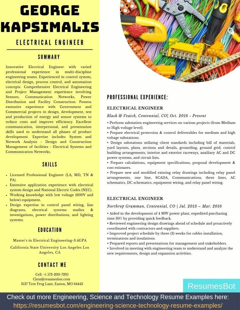 Electrical engineer resume samples templates pdfdoc